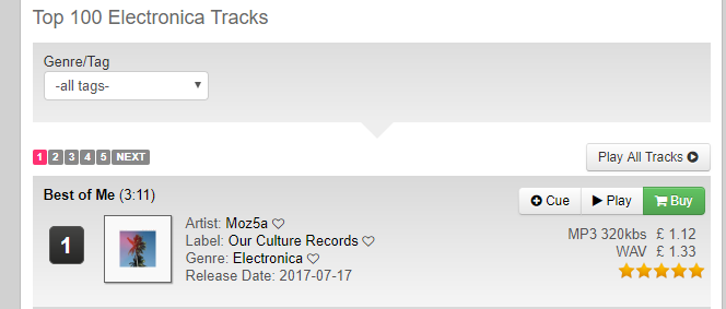 Screenshot of Moz5a's 'Best of Me' on TrackItDown's Top 100 Electronica